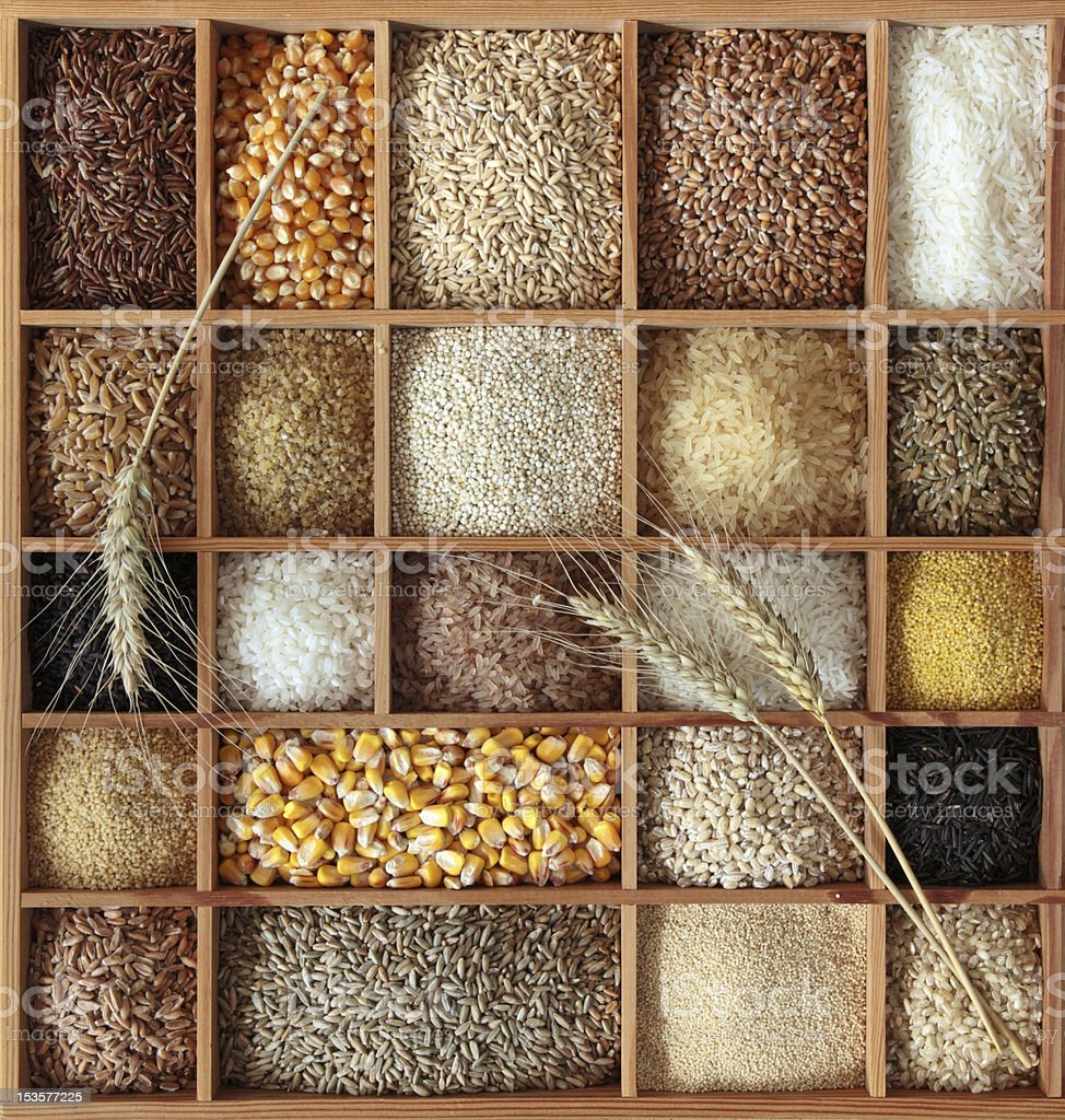 Cereals in wooden box stock photo
