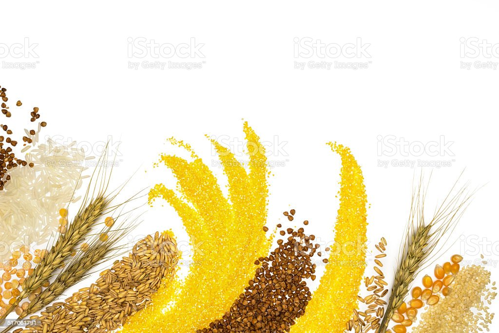 Cereals - maize ,wheat, buckwheat, millet, rye, rice and peas stock photo