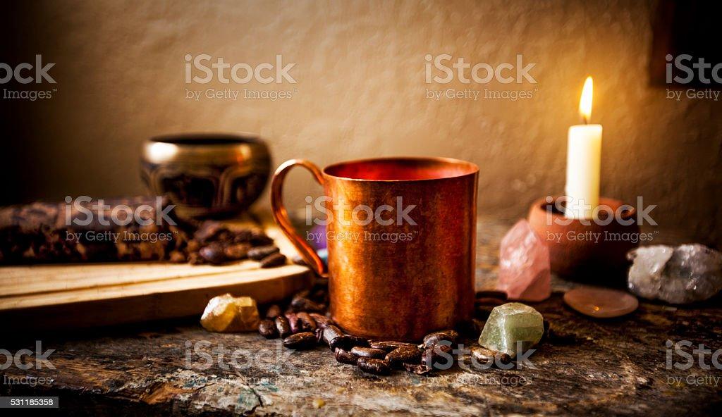 Ceremonial Cacao Beverage (Raw Chocolate) stock photo
