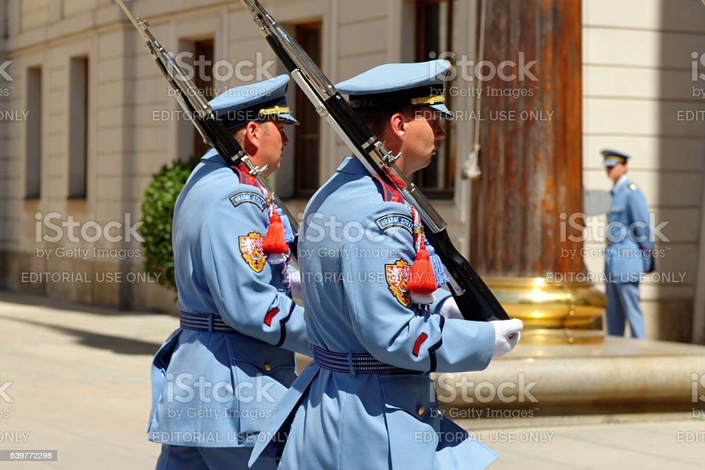 Ceremonial changing of guards at Prague Castle, Czech Republic. stock photo