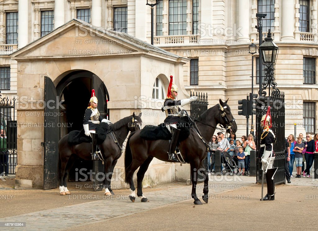 Ceremonial changing of mounted sentries, Horse Guards Parade stock photo
