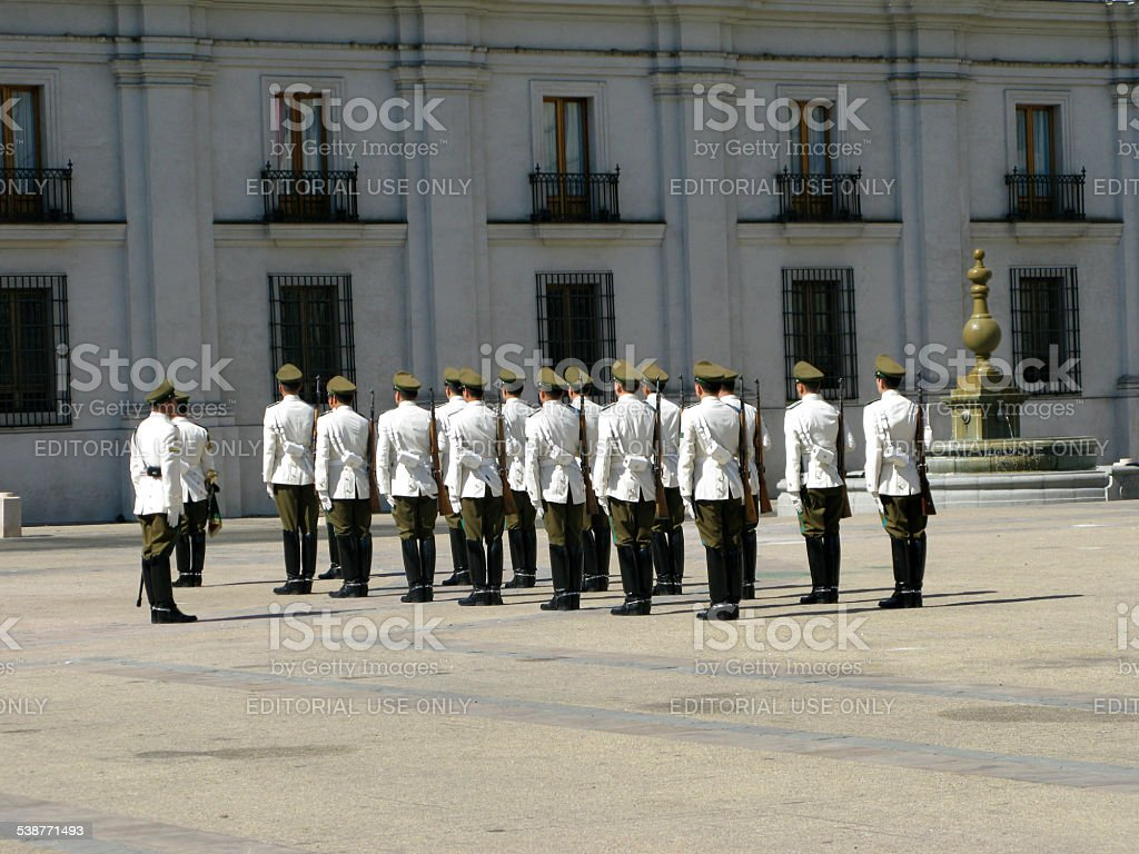 ceremonial changing of the guard at Palacio de la Moneda stock photo