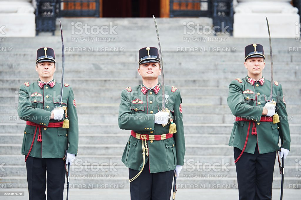 Ceremonial guard changing near the hungarian parliament in Budapest stock photo