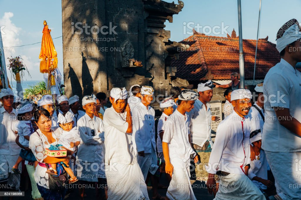 Ceremonial procession on Bali, Indonesia stock photo