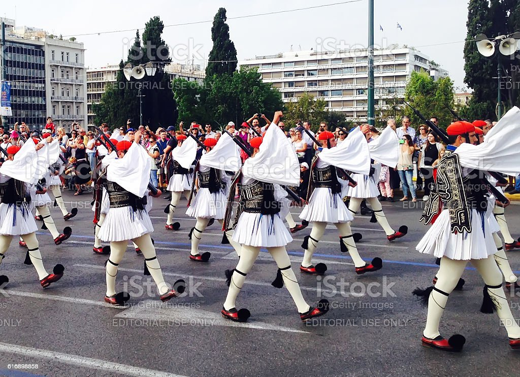 Ceremony of changing guards in Athens, Greece stock photo