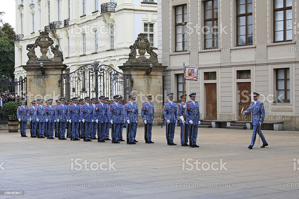 Ceremony of Changing the Guards in Prague royalty-free stock photo