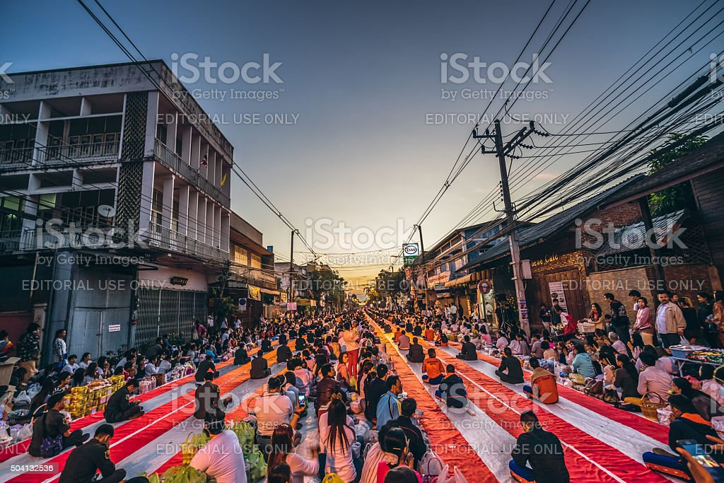 Ceremony of International Alms Offering to 10,000 monks stock photo