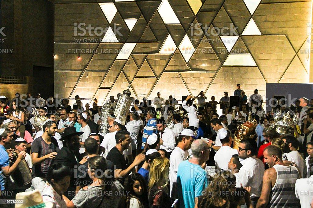 Ceremony of Simhath Torah. Tel Aviv. Israel stock photo