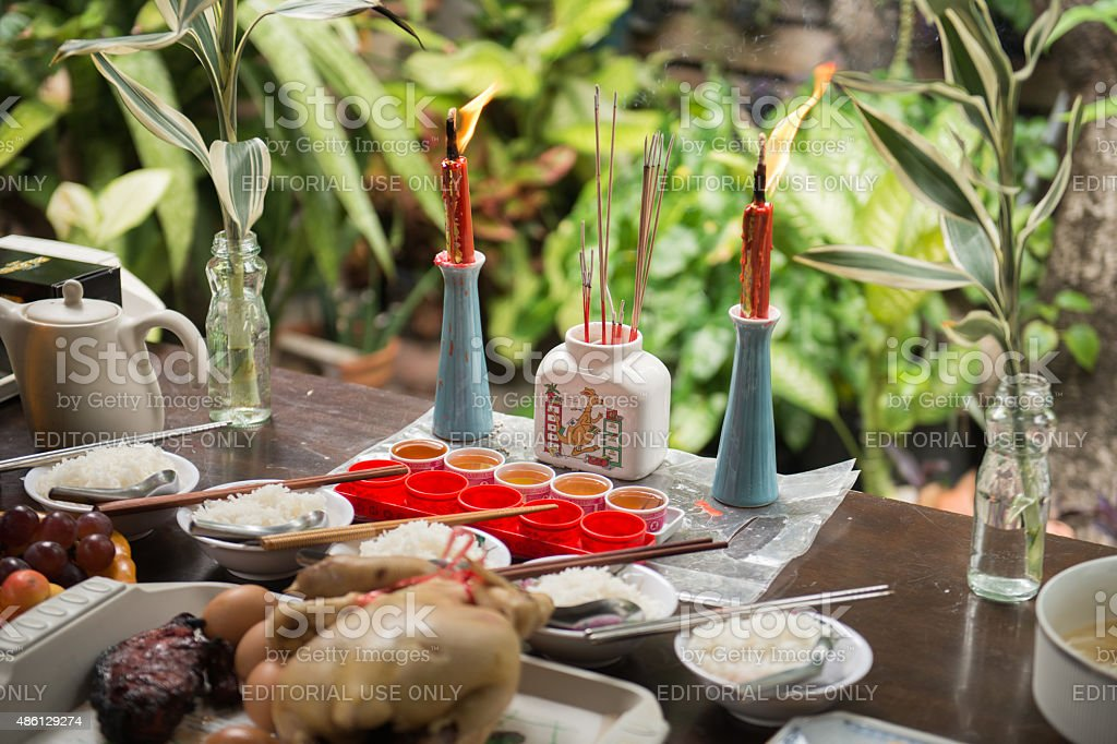 Ceremony table seen during Hungry Ghost Festival stock photo