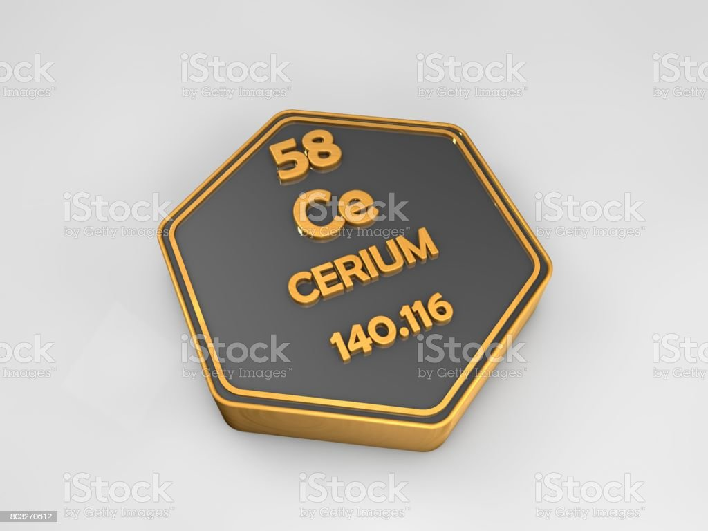 Cerium - Ce - chemical element periodic table hexagonal shape 3d render stock photo