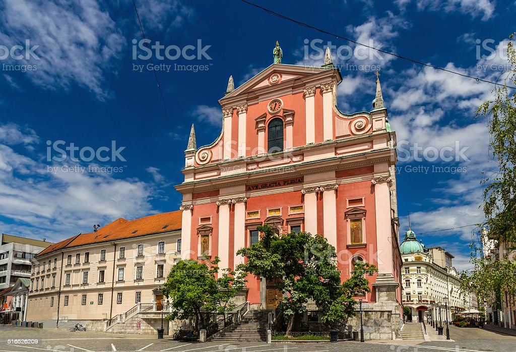 Cerkev Marijinega oznanjenja (Franciscan Church) in Ljubljana stock photo