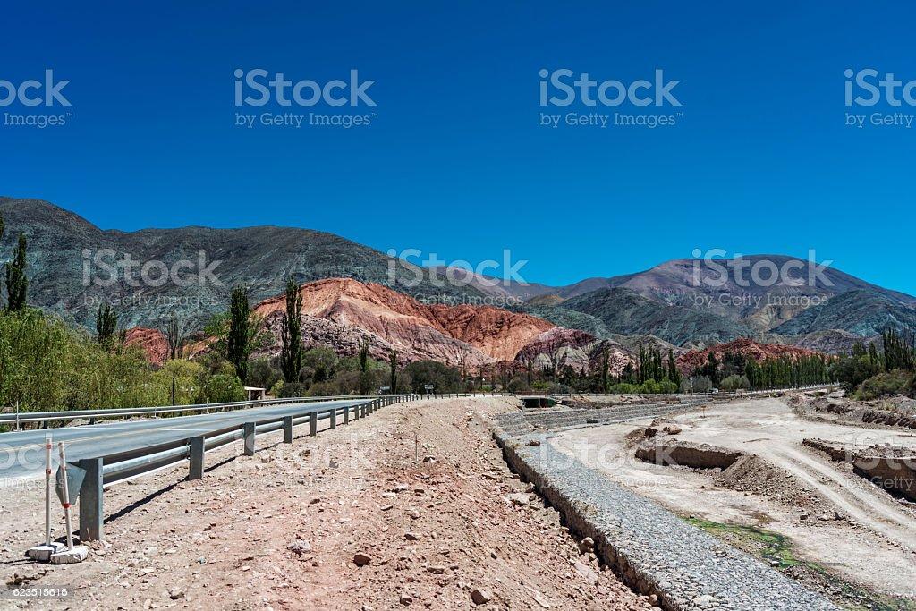 Cerro de siete colores (hill of the seven colors) stock photo