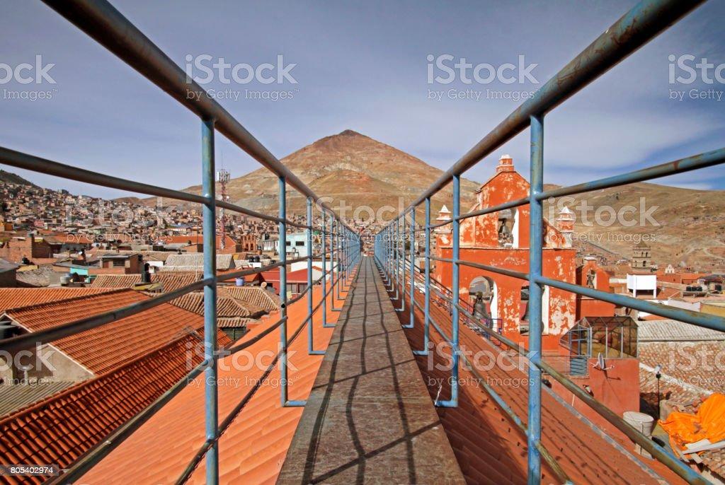 Cerro Rico looming over Potosi, Bolivia stock photo