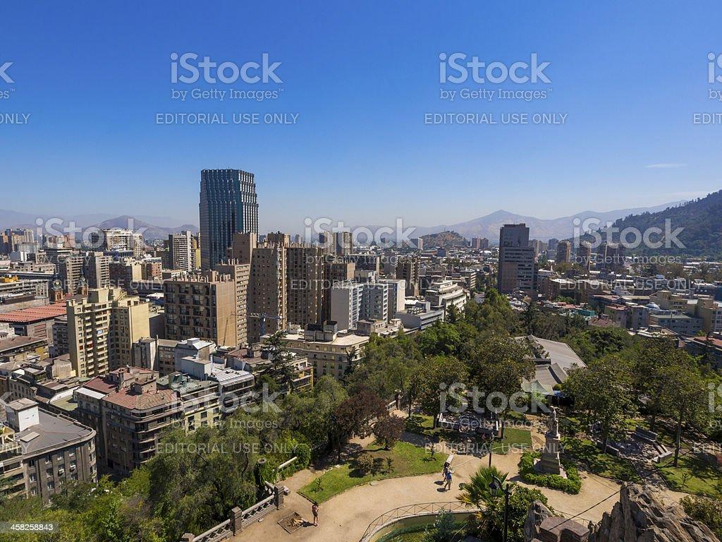 Cerro Santa Lucia park and Santiago skyline, Chile stock photo