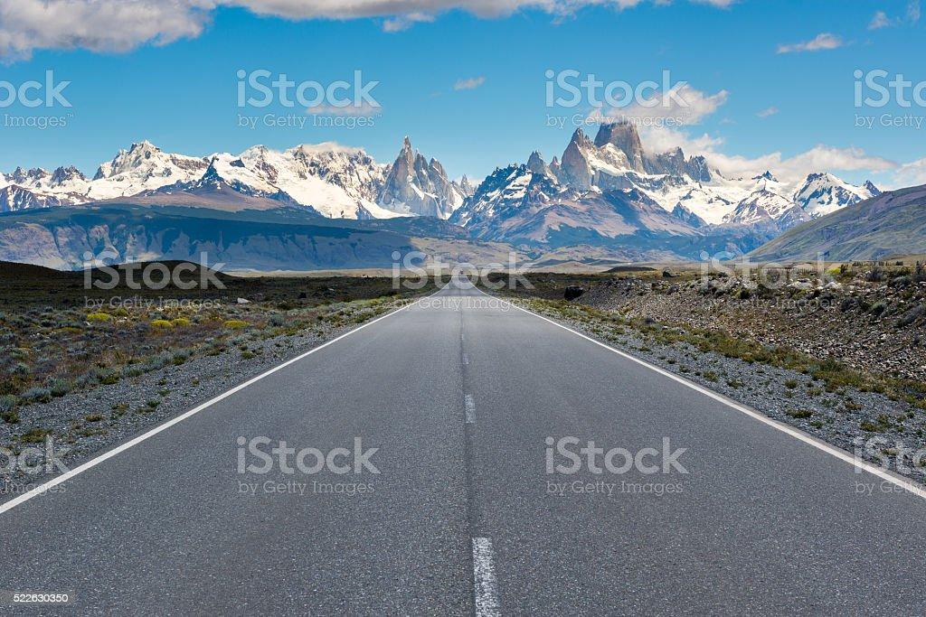 Cerro Torre & Fitz Roy from Route 23, El Chalten (Argentina) stock photo
