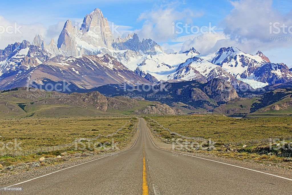 Cerro Torre. Fitz Roy, Route 23, El Chalten, Patagonia Argentina stock photo