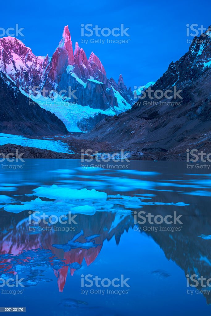 Cerro Torre in red stock photo