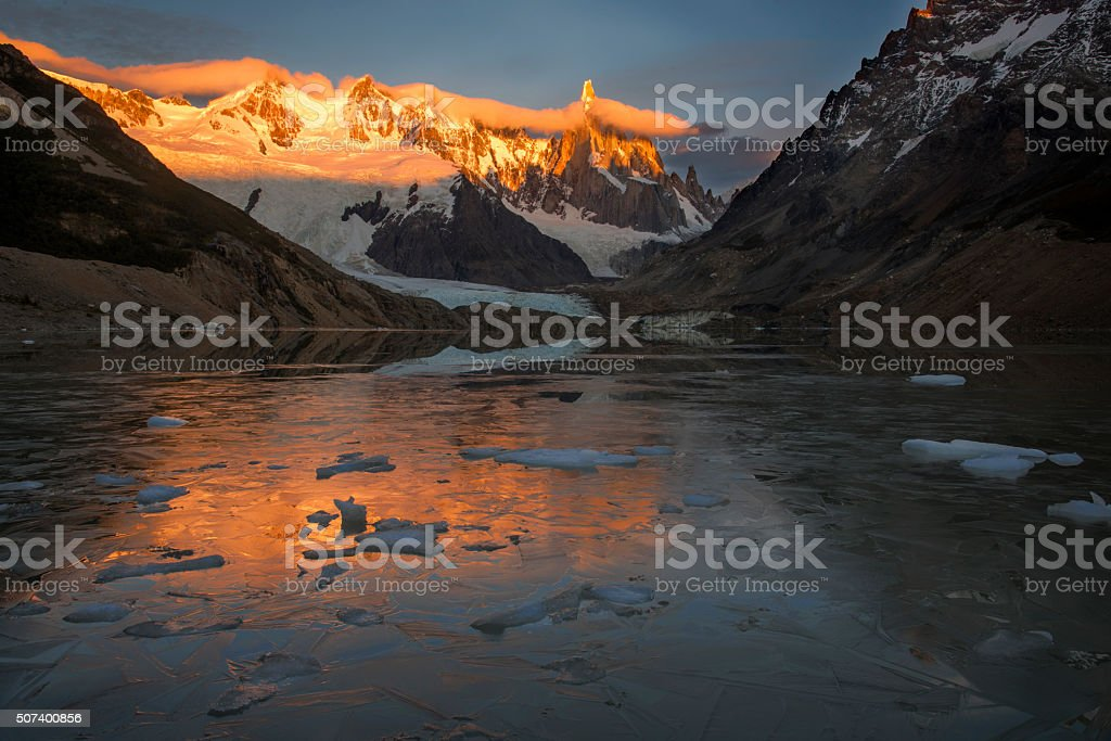 Cerro Torre Sunrise at laguna Torre stock photo