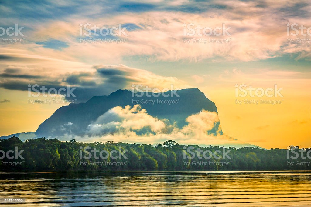 Cerro Yacapana from Pasiva River, Amazon State Venezuela stock photo