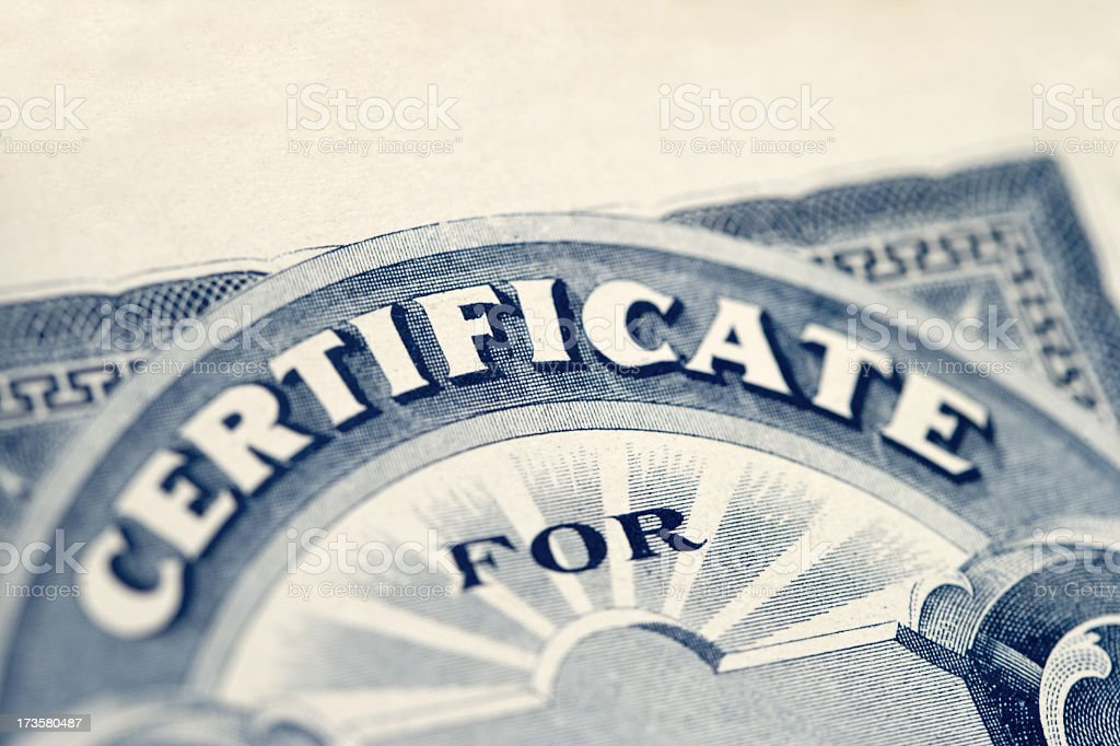 Certificate for... royalty-free stock photo