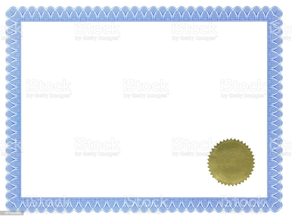 Certificate of Achievement with Seal stock photo