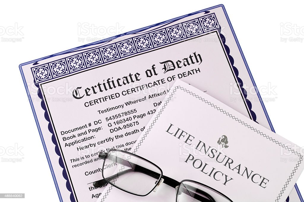 Certificate of Death and Life Insurance Policy, glasses, white background stock photo