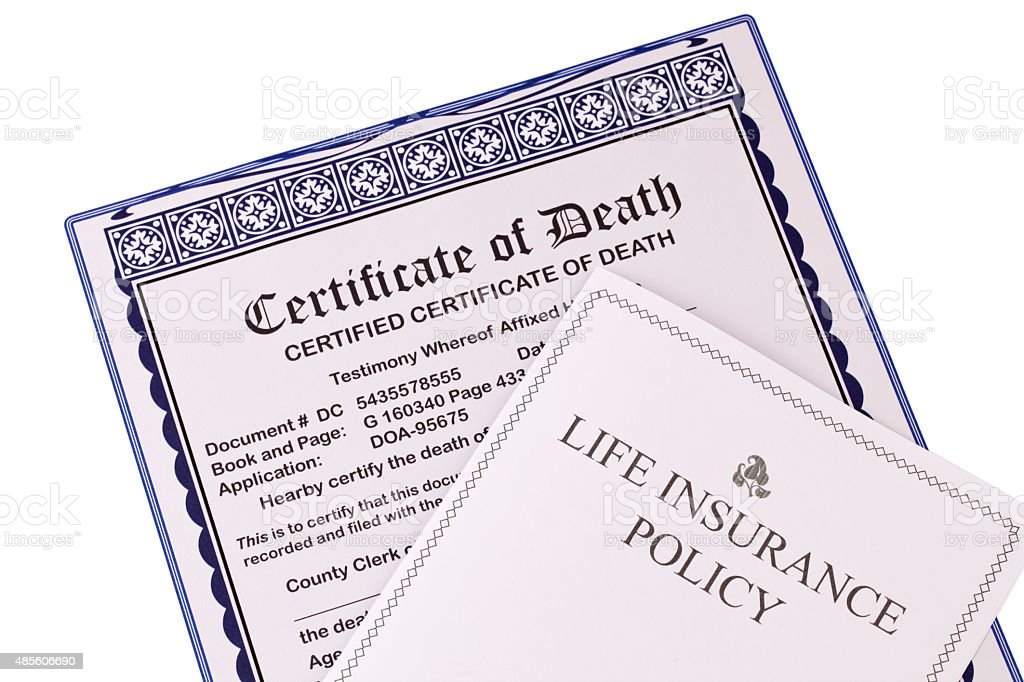 Certificate of Death and Life Insurance Policy stock photo