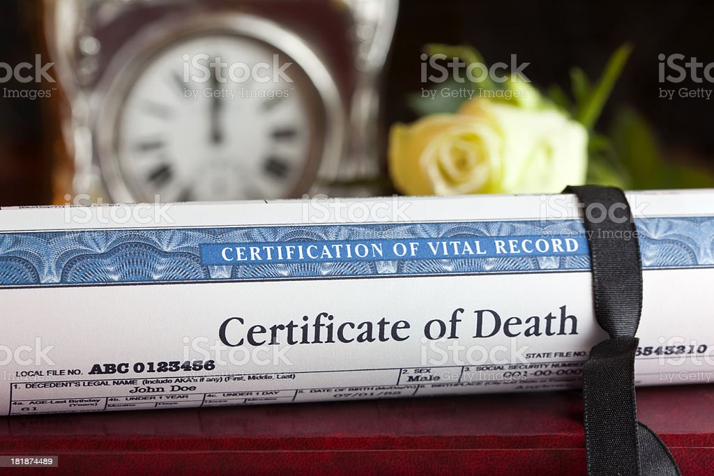 Certificate of Death stock photo