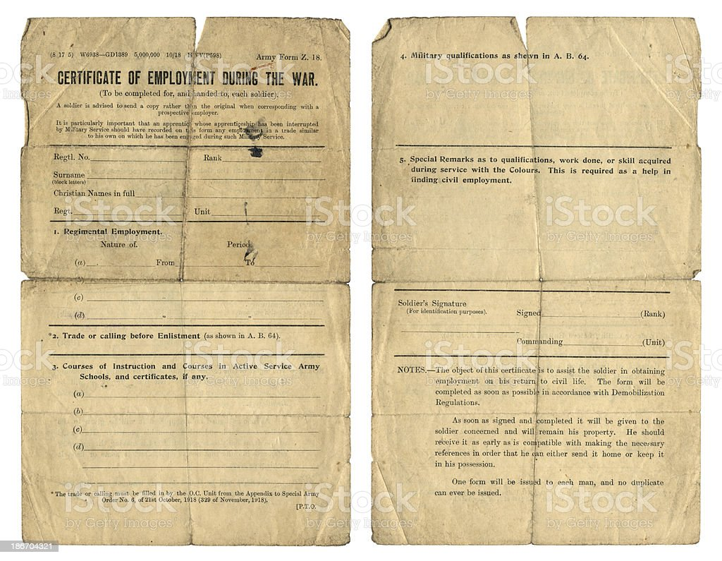 Certificate of Employment during World War One stock photo