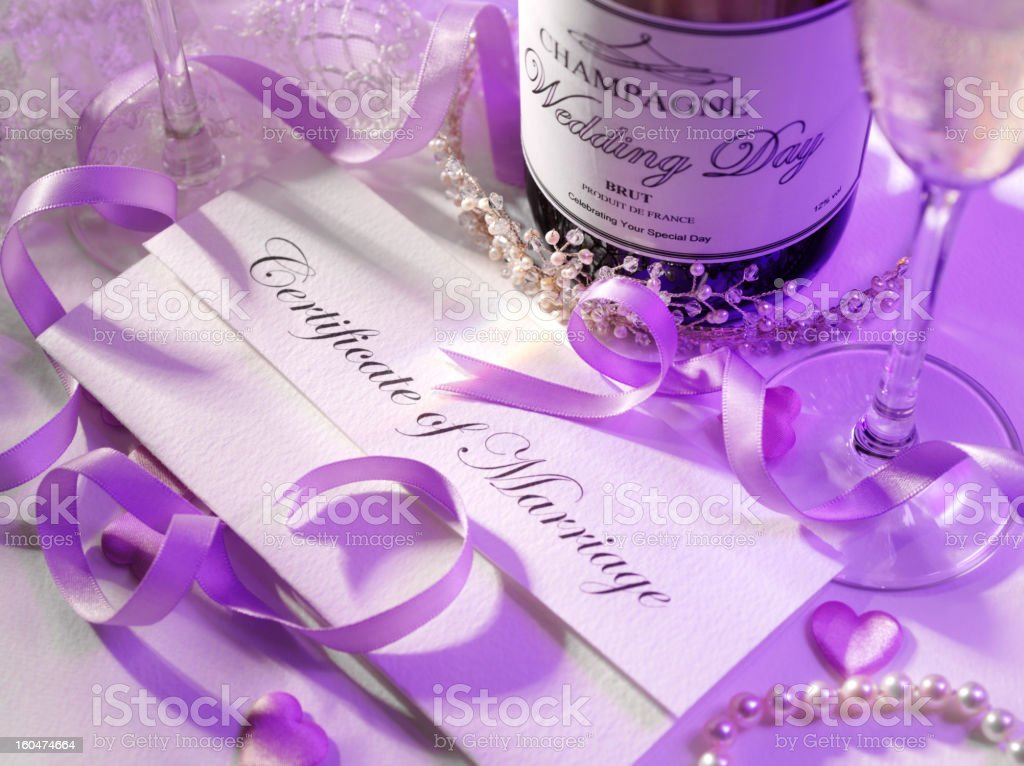 Certificate of Marriage and Champagne in Purple royalty-free stock photo