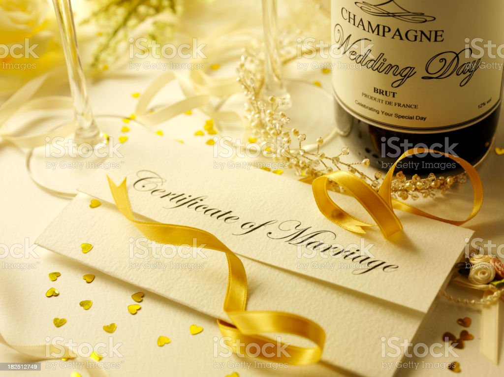 Certificate of Marriage and Champagne royalty-free stock photo