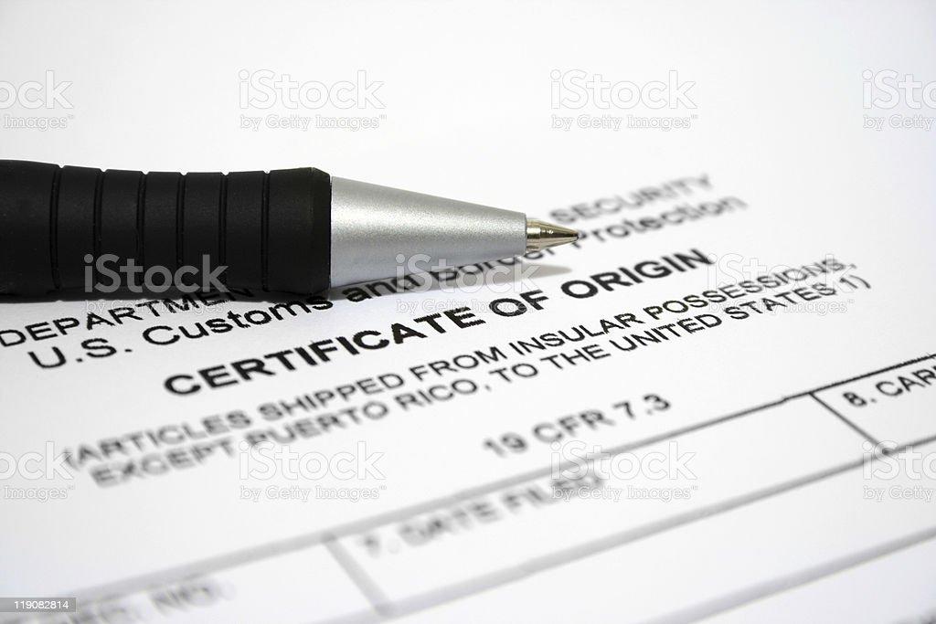 Certificate of origin stock photo