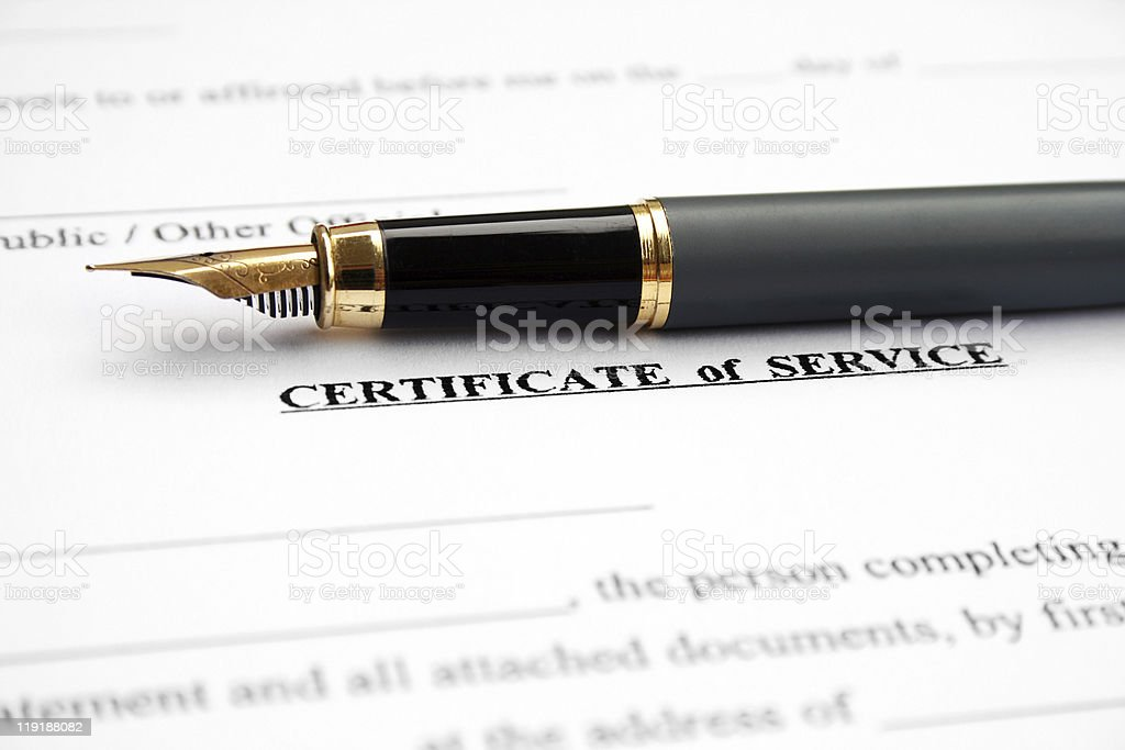 Certificate of service stock photo