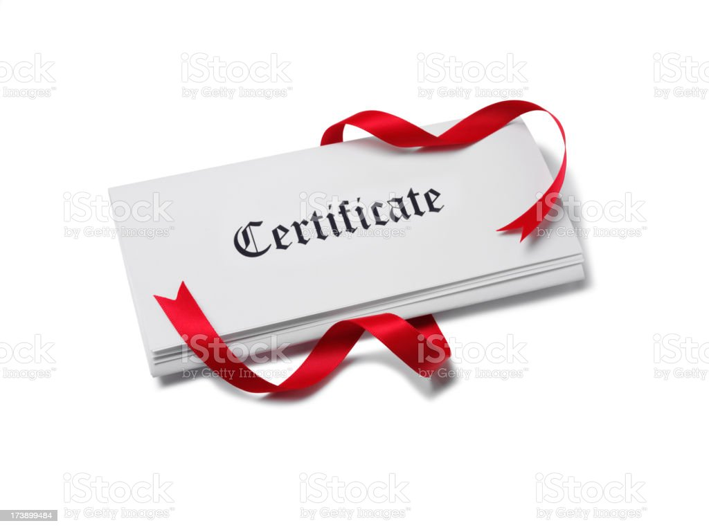 Certificate on Paper with Red Ribbon royalty-free stock photo