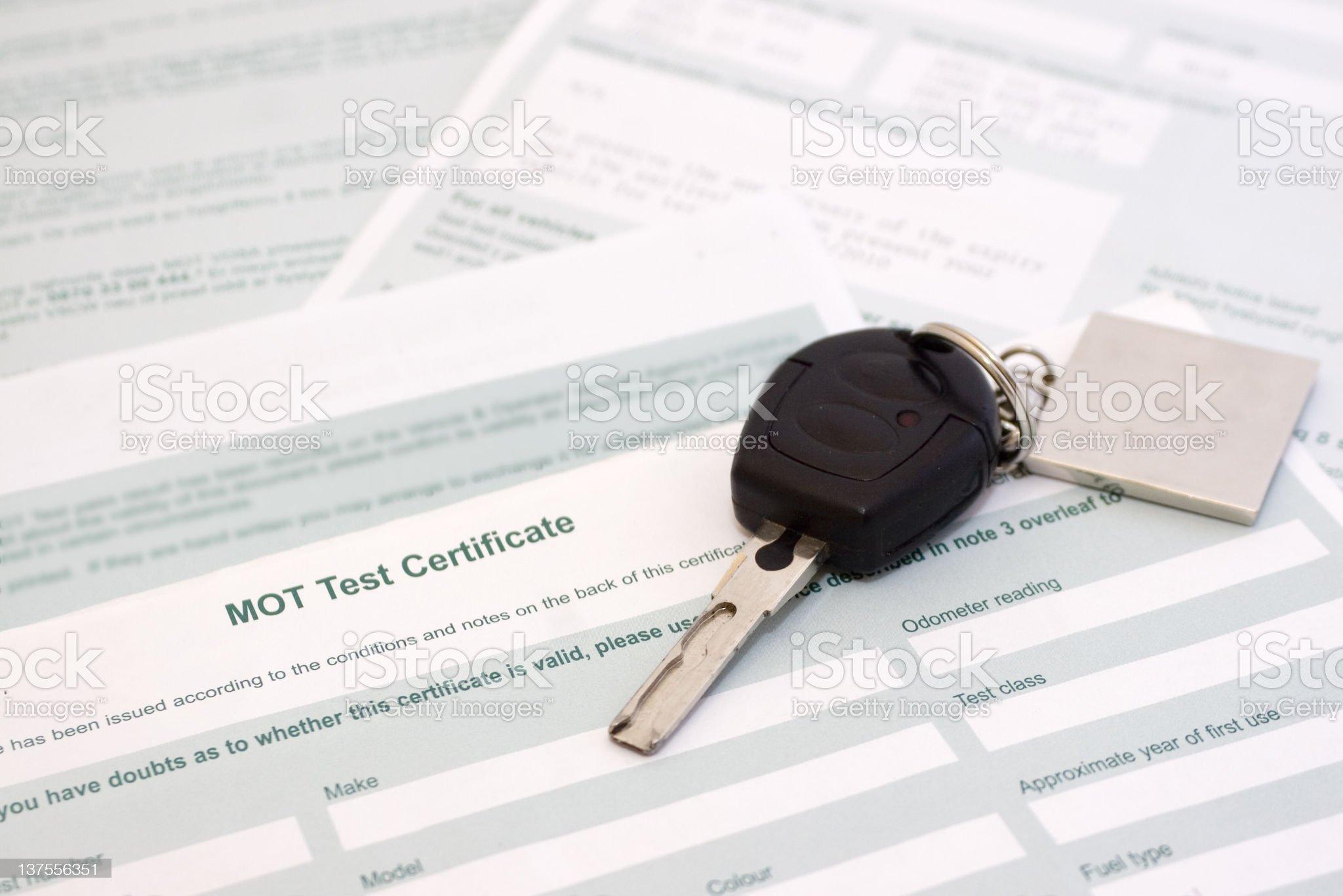 MOT Certificate royalty-free stock photo