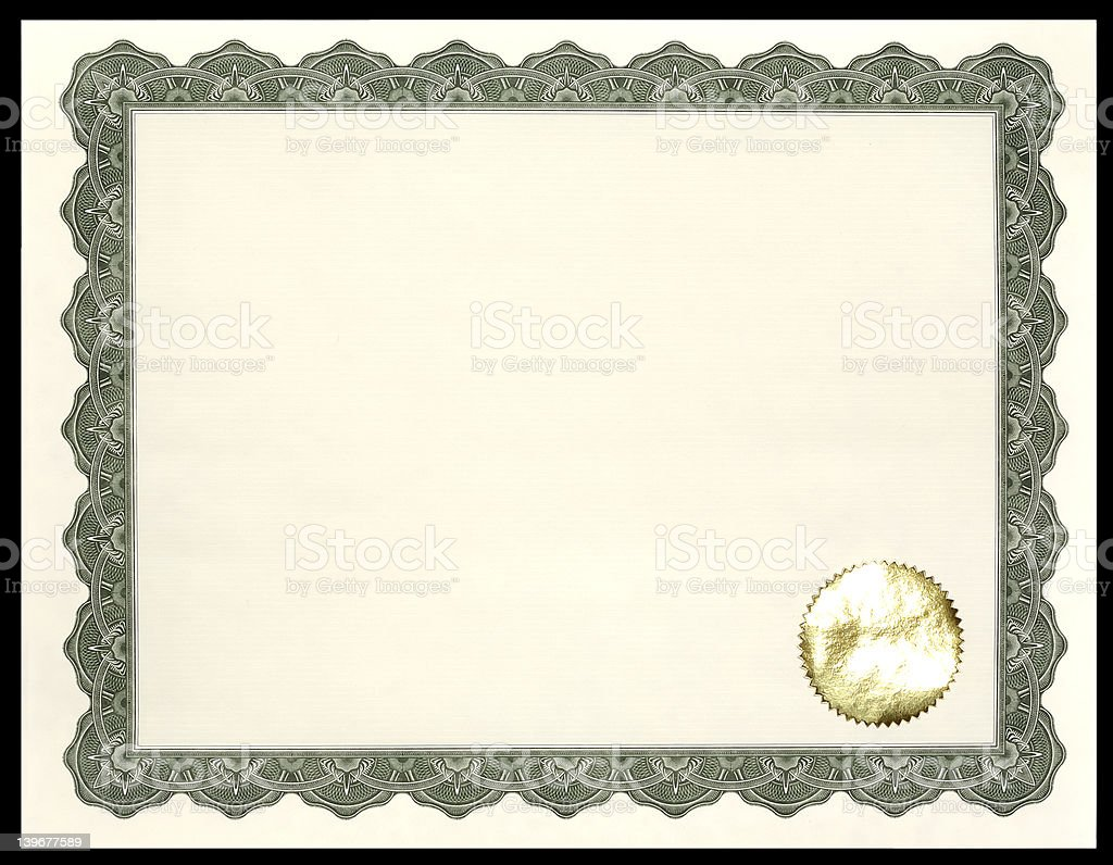 Certificate stock photo