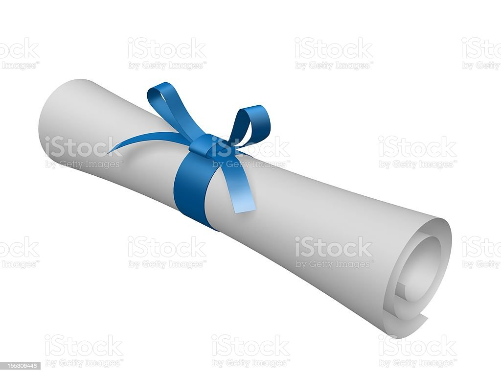 certificate scroll stock photo