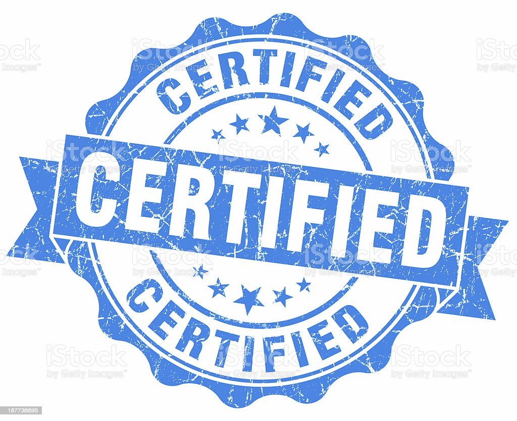 certified blue round seal stock photo