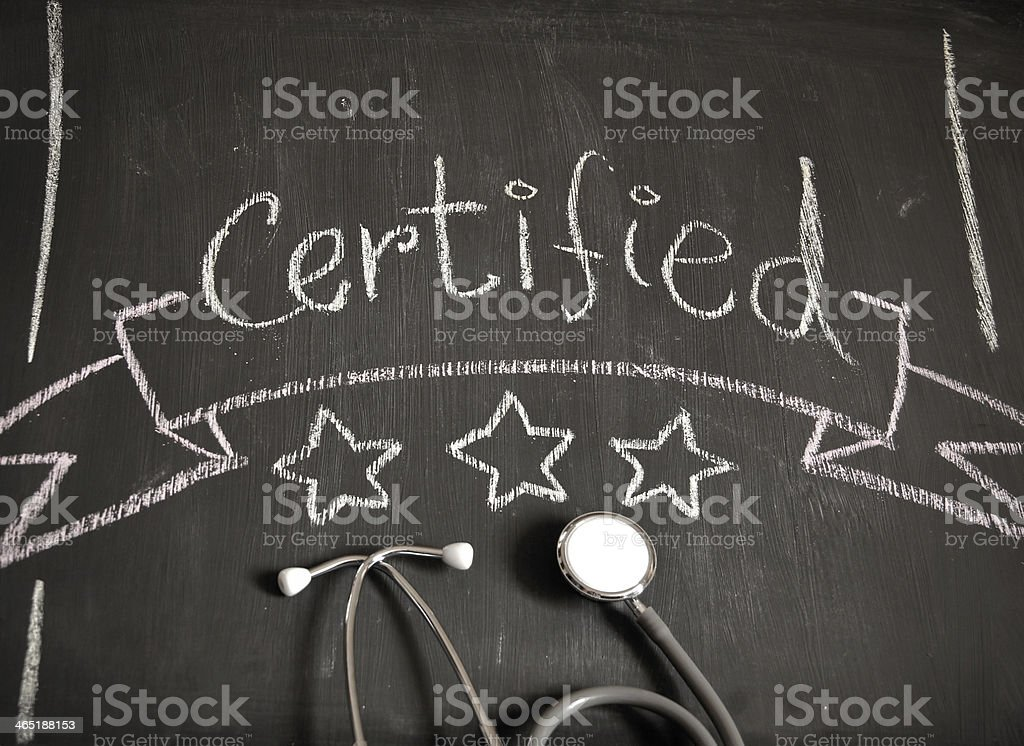 Certified healthcare concept stock photo