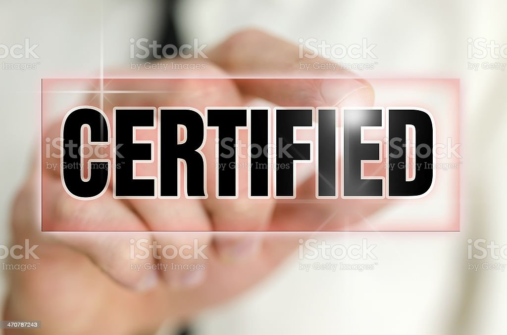 Certified icon stock photo