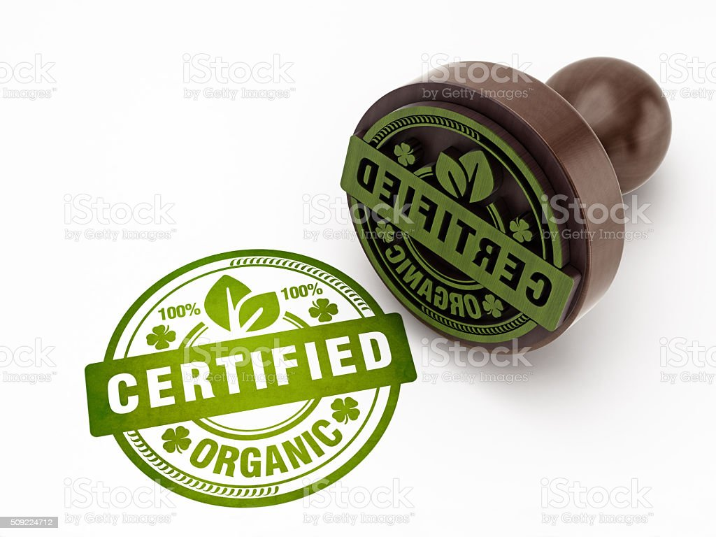 100% certified organic food stamp stock photo
