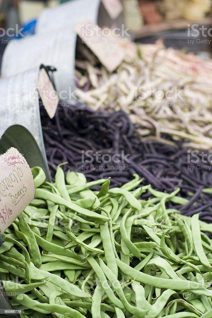 Certified organic fresh beans stock photo