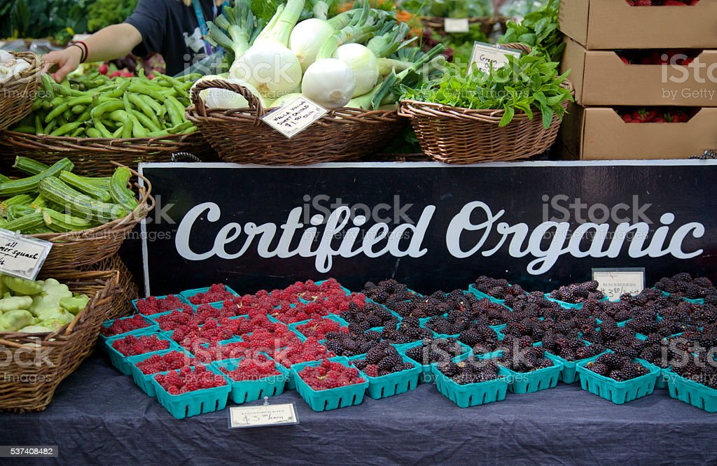 certified organic produce at the farmer's market stock photo