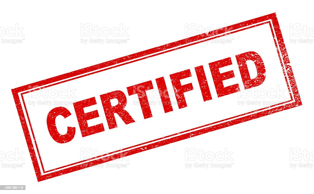 'Certified' Red Rubber Stamp stock photo