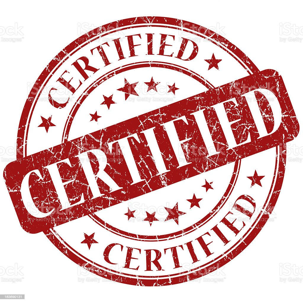 certified red stamp stock photo