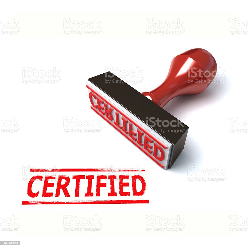 certified rubber stamp 3d illustration stock photo