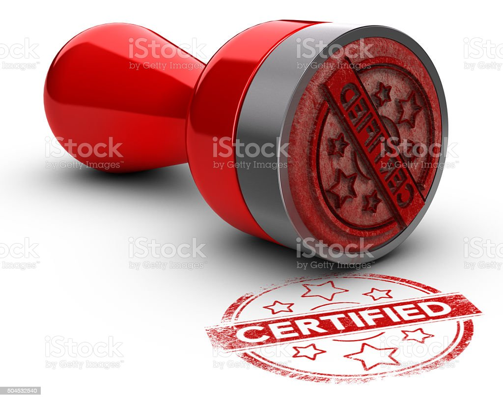 Certified Rubber Stamp stock photo