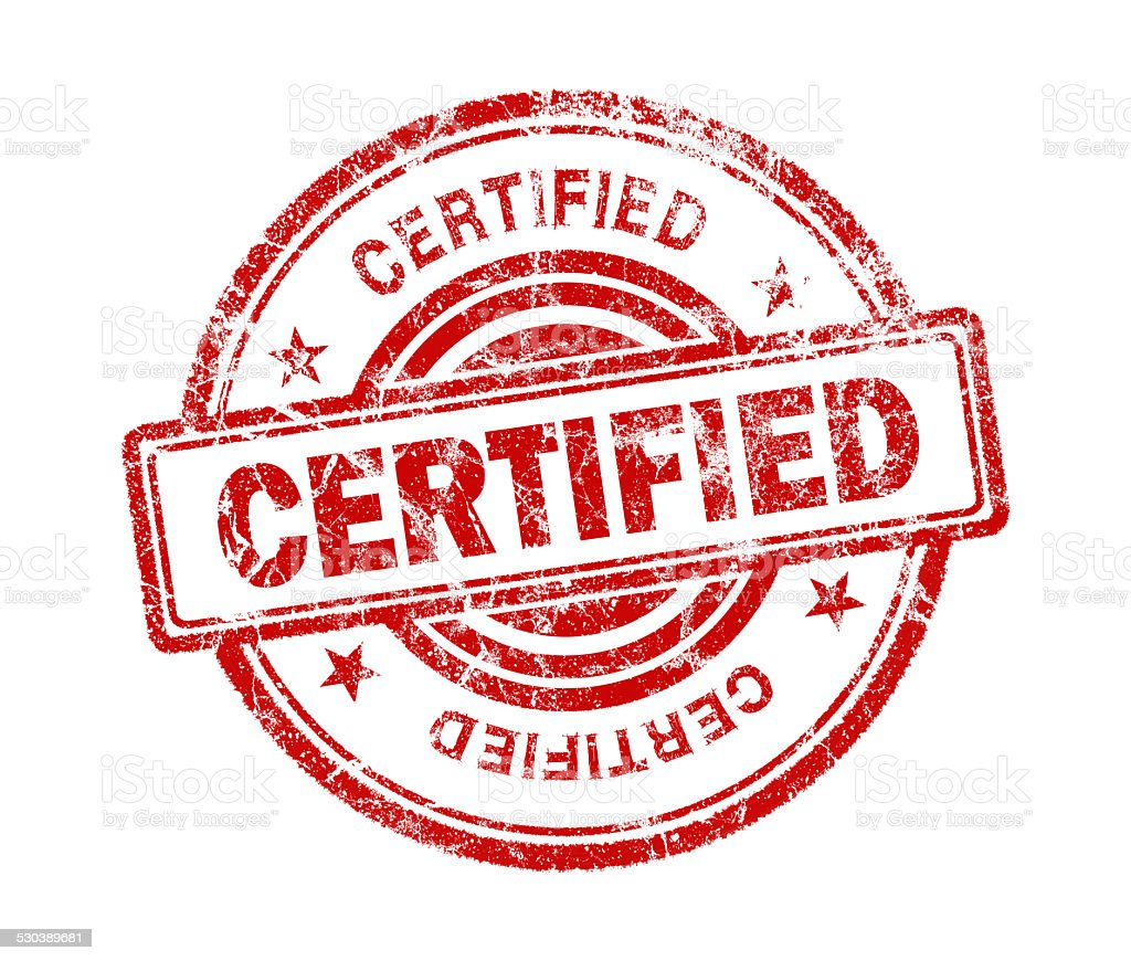 certified stamp on white background stock photo