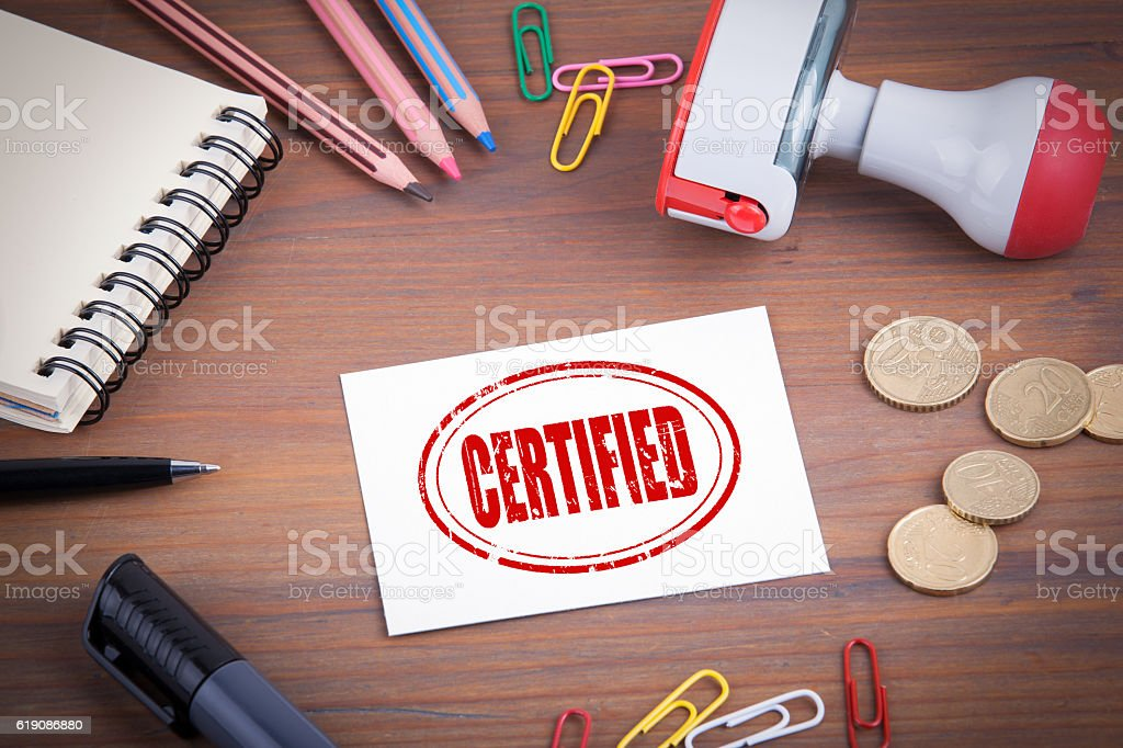 Certified stamp stock photo