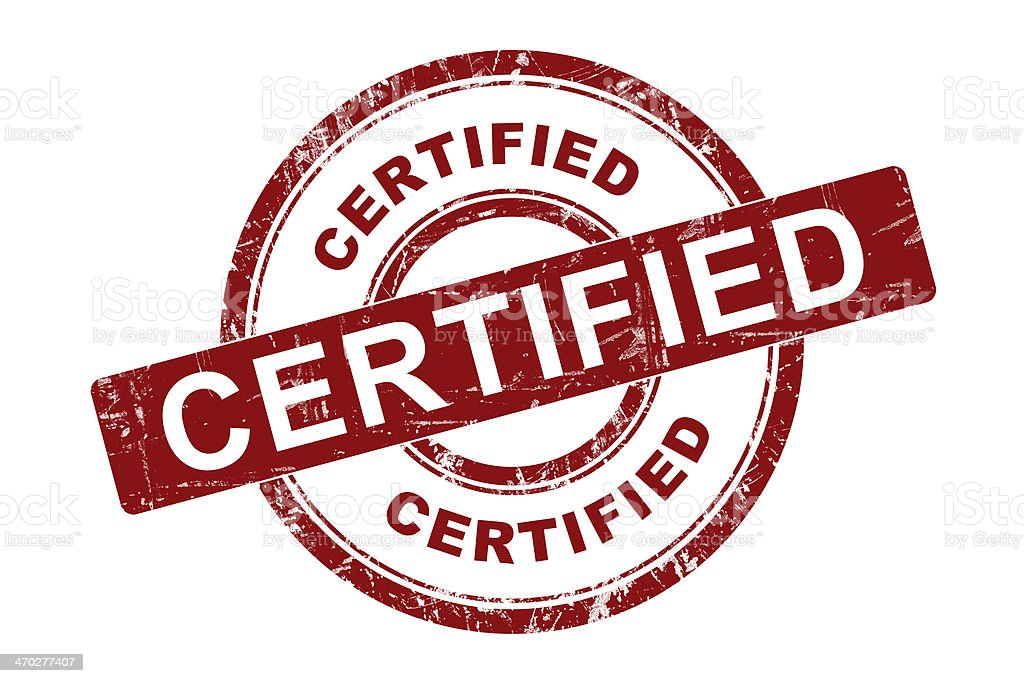 Certified Symbol stock photo
